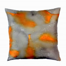 Large Amber square hand painted silk cushion