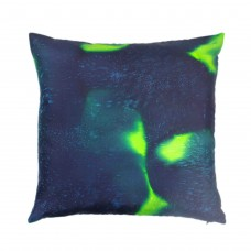 Emerald square hand painted silk cushion